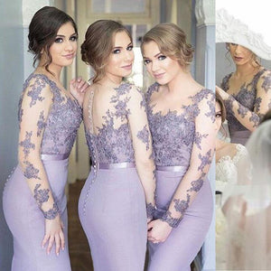 Sexy Lilac Slim Line Backless Appliques Mermaid Satin Bridesmaid Dresses Evening Dresses - NICEOO