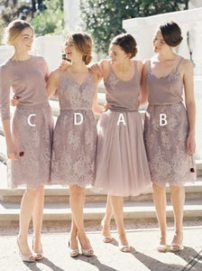 Elegant Four Styles A Line Knee Length Chiffon Bridesmaid Dresses Evening Dresses - NICEOO