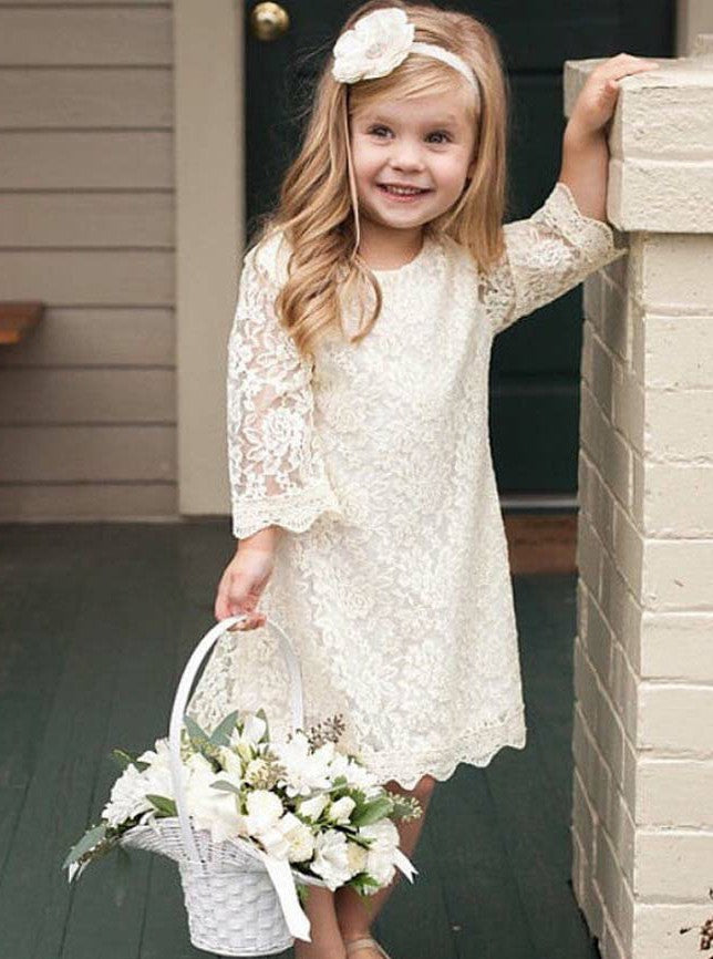 925612fa2836 Simple Whte Round Neck Long Sleeve Lace Flower Girl Dresses