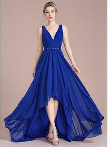 Royal Blue High Low Chiffon Skirt Bridesmaid Dress