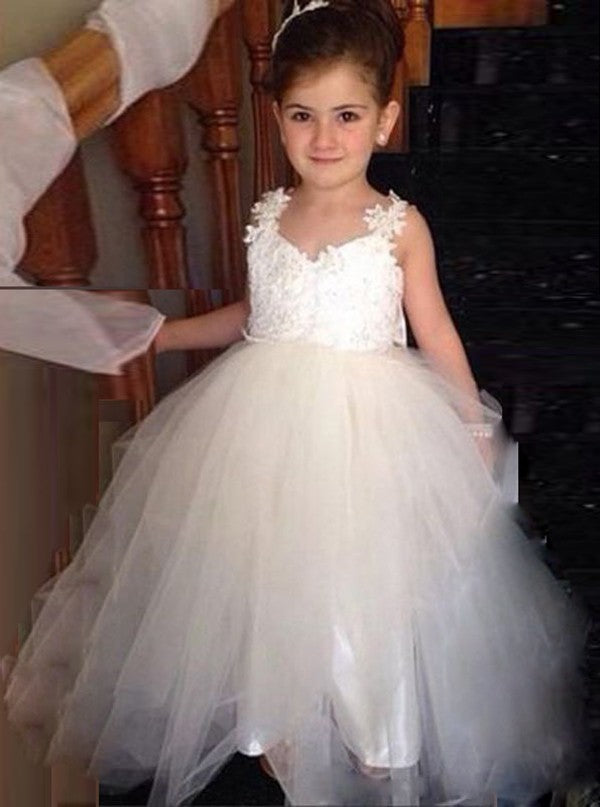 6704b84477c Pretty Strap V Neck Open Back Tulle Flower Girl Dresses With Bow - NICEOO