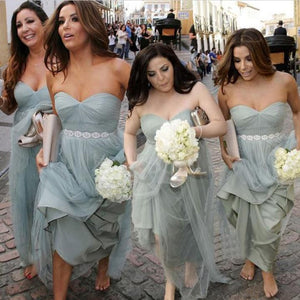 Elegant Gray Sweetheart Empire Waist Tulle Bridesmaid Dresses Prom Dresses
