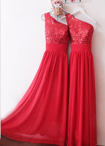 Red One-Shoulder Sequin corset Long Bridesmaid Dress A Line Bridesmaid Gowns