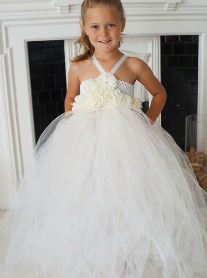 8be87f840e9 A Line Spaghetti Strap Open Back Tulle Flower Girl Dresses With Flowers -  NICEOO