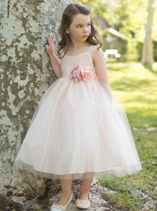A Line Square Neck Sleeveless Tulle Flower Girl Dresses - NICEOO