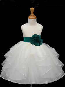 A Line Round Neck Sleeveless Tulle Flower Girl Dresses With Flowers - NICEOO