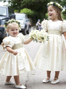 A Line Round Neck Sleeveless Satin Flower Girl Dresses - NICEOO