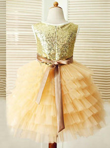 A Line Round Neck Sleeveless Tulle Flower Girl Dresses With Sequin - NICEOO