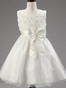 White A Line Round Neck Sleeveless Tulle Flower Girl Dresses With Bow