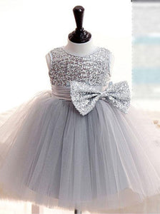 Gray A Line Round Neck Sleeveless Flower Girl Dresses With Bow