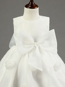 White A Line Round Neck Sleeveless Flower Girl Dresses With Bow