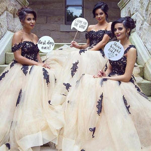 Gorgeous Champange Off Shoulder Sweetheart  Bridesmaid Dresses Prom Dresses