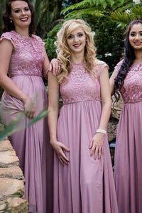 Elegant Pink A Line Sleeveless Empire Waist Lace Bridesmaid Dresses Evening Dresses - NICEOO