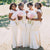 Simple White Round Neck Open Back Mermaid Satin Bridesmaid Dresses Plus Size Dresses