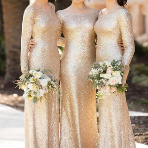 Sexy Gold Round Neck Slim Line Mermaid Sequin Bridesmaid Dresses Evening Dresses - NICEOO