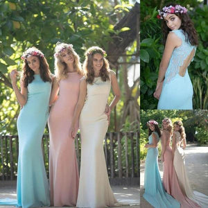 Unique Blue Slim Line Round Neck Backless Long Prom Dresses Satin Evening Dresses