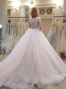 Sexy Spaghetti Straps Tulle Wedding Dress with Rhinestones Band