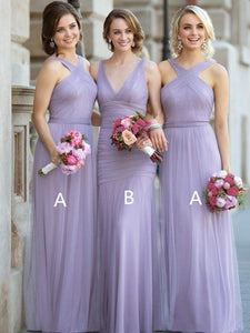 Elegant Lilac Two Styles Sleeveless Empire Waist Bridesmaid Dresses Affordable Evening Dresses - NICEOO