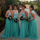 Unique Blue A Line Round Neck Sleeveless Long Prom Dresses Chiffon Bridesmaid Dresses