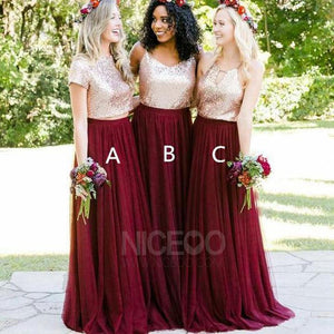 Sweet Burgundy Two Pieces Three Styles A Line Sequin Bridesmaid Dresses Evening Dresses
