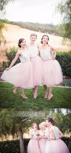 Pretty Pink Two Pieces Sleeveless Round Neck A Line Tulle Bridesmaid Dresses Evening Dresses - NICEOO