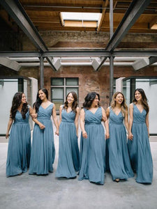 Elegant Blue V Neck Empire Waist A Line Sleeveless Chiffon Bridesmaid Dresses Evening Dresses