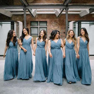 Elegant Blue V Neck Empire Waist A Line Sleeveless Chiffon Bridesmaid Dresses Evening Dresses - NICEOO
