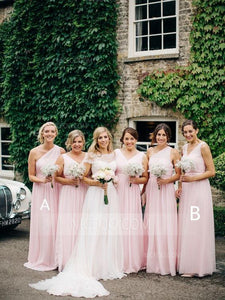 Elegant Pink Two Styles A Line Sleeveless Empire Waist Chiffon Bridesmaid Dresses Evening Dresses - NICEOO