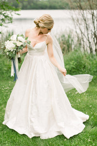 Simple Satin Bridal Gowns Dress Spaghetti Straps wedding dresses