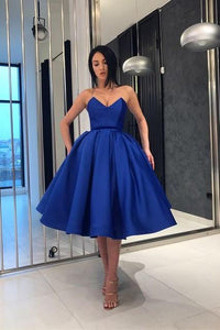 Royal Blue Short homecoming dresses Sweetheart Neckline Ball Gown