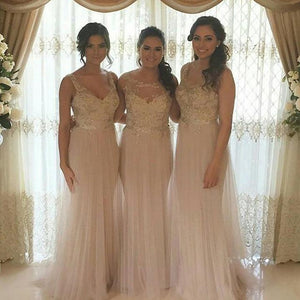 Elegant Blush Pink Strap Sweetheart Tulle Bridesmaid Dresses Evening Dresses With Appliques - NICEOO