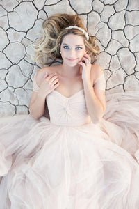 Elegant Off shoulder Tulle Blushing Pink wedding dresses