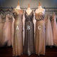 Sexy Gold Three Styles Slim Line Floor Length Sequin Bridesmaid Dresses Prom Dresses - NICEOO