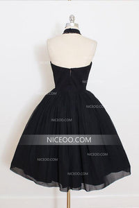 A Line Black Halter Knee Length Homecoming Dresses Cocktail Dresses - NICEOO
