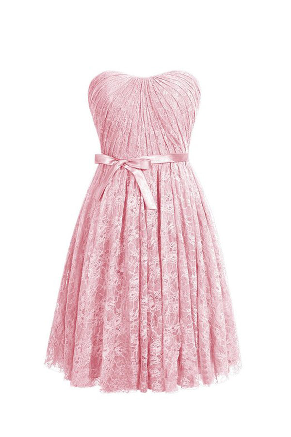 b614e5e04d Cute Pink Strapless Knee Length Prom Dresses Lace Bridesmaid Dresses With  Bow - NICEOO