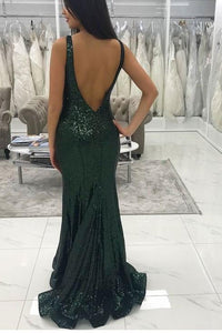 Sexy Deep V-neckline Sequins Dark Green Mermaid  prom dresses