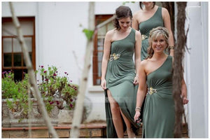 Unique Drak Gray One Shoulder Slim Line Side Split Satin Bridesmaid Dresses Best Evening Dresses