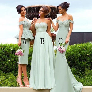 Elegant Bean Green Three Styles Sweetheart Empire Waist Satin Bridesmaid Dresses Formal Dresses - NICEOO