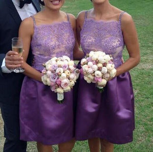 Cute Purple Spaghetti Strap Square Neck Satin Bridesmaid Dresses Prom Dresses - NICEOO