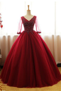 Burgundy tulle V neck lace appliques long sleeves prom dress