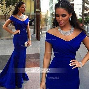Burgundy Mermaid Off Shoulder Long Prom Dresses Military Ball Dresses - NICEOO