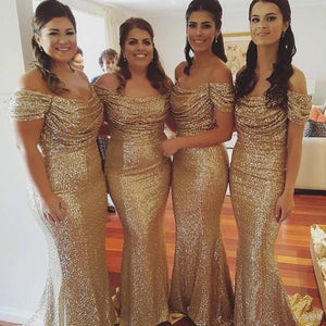 Sexy Gold Round Neck Off Shoulder Slim Line Mermaid Sequin Bridesmaid Dresses Prom Dresses - NICEOO