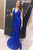 Sexy Mermaid Lace Prom Dress royal blue V Neck  Evening Dress