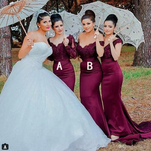 Fashion Dark Purple Two Styles Off Shoulder Mermaid Satin Bridesmaid Dresses Best Evening Dresses