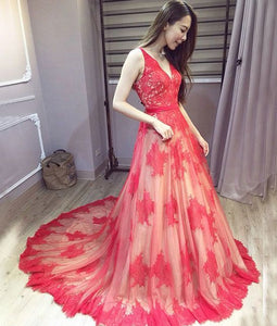 Sexy Red v neck lace long prom dress backless evening dress