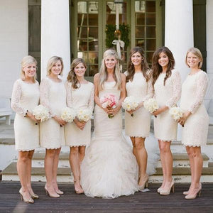 Elegant White Slim Line Round Neck Long Sleeves Knee Length Lace Bridesmaid Dresses Prom Dresses