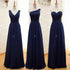 Elegant Navy Blue Three Styles Sleeveless Empire Waist Chiffon Bridesmaid Dresses Prom Dress