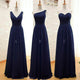Elegant Navy Blue Three Styles Sleeveless Empire Waist Chiffon Bridesmaid Dresses Prom Dress - NICEOO