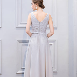 Simple Grey V Neck Sleeveless Prom Dresses Chiffon Bridesmaid Dresses