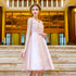 Pink V Neck Sleeveless Backless Lace Applique Homecoming Dresses